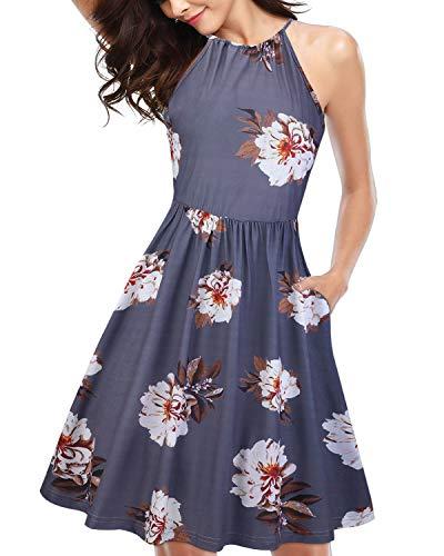 KILIG Women's Halter Neck Floral Summer Dress Strap Sundress with Pockets (A3-Floral,Large)