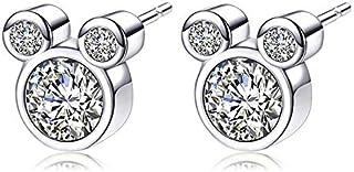 Epoch World Damen Ohrringe 925 Sterling Silber Ohrstecker Maus Ohrringe Stecker mit Zirkonias Silber Ohrringe für Frauen M...