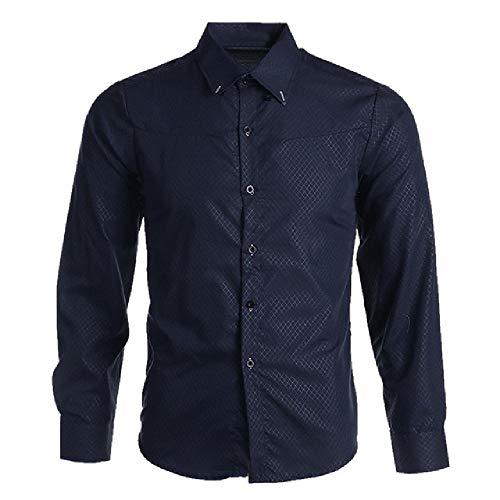 Langarm-Hemd für Frühling, Herbst, Herren, Slim Fit Gr. XXXXXL, Marineblau