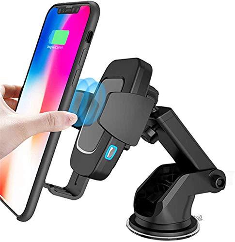 Sendowtek Cargador Inalámbrico de Coche con Cargador de Coche QC3.0 Gratis, Soporte de Carga Rápida de 10W/7.5W/5W, Abrazadera Automática, con Ventosa + Clip, para iPhone, Samsung, Huawei
