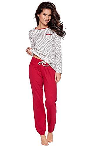 Moonline süßer und bequemer Damen Schlafanzug aus 100% weicher Baumwolle, mit Herzchen-Muster, Creme, Gr. XL (48/50)