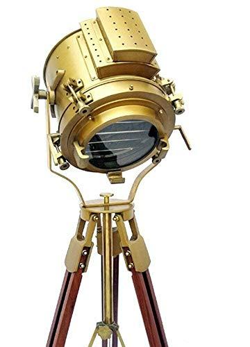 Antiker nautischer Spotlight, Holzstativ, Stehlampe, Vintage-Stil, Heimdekoration, braune Schraube, Stativ, Stehlampe