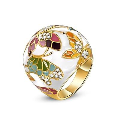 QIANSE Spring of Versailles Butterfly Enamel Rings for Women Size 7 Size 9, Spring of Versailles Series