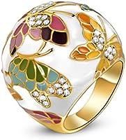 Kami Idea Anello, Primavera di Versailles, Farfalla Realizzato con Smalto Squisito, Elegante Portagioie, Regalo di Natale