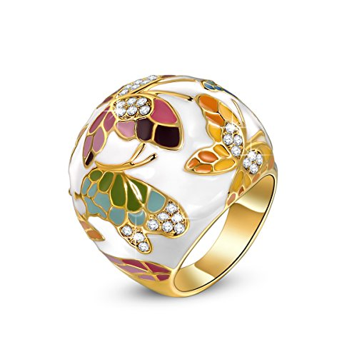 QIANSE Mothers Day Rings Gifts for Her for Women Size 7 Spring of Versailles Butterfly Enamel Gifts for Women Jewelry for Mom Birthday Gifts for Girlfriend Daughter Sister Wife Jewelry for Mother Her