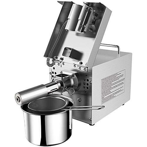 PLEASUR Ölpresse 750W Kalte heiße Nüsse Ölverteiler Gewerbehaus Automatischer Edelstahl-Extraktor in Lebensmittelqualität für Oliven-Erdnuss-Sesam-Leinsamen Perilla Walnuss-Mandel ect