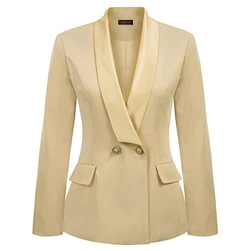 Curlbiuty Damen Mantel Langarm Schalkragen V-Ausschnitt EIN Knopf Blazer Büro Blazer Jacke L Champagner CU49-2