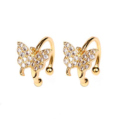 Temperamento mariposa Stud auricular simple conjunto taladro mariposa oreja libre hueso clip moda oído accesorios