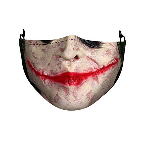 Mundschutz mit Motiv Halloween Joker Skull Totenkopf Blut Lippen Horror 3D Lustig Mund und Nasenschutz Waschbar mit 2 Filters Damen Herren Kürbis Venom Cosplay Multifunktionstuch Halstuch (TQ-881)