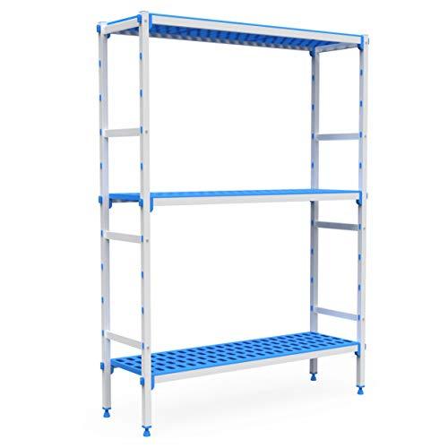 Pujadas P7142 Kit completo de estantería de aluminio y polipropileno, compatible con contenedores 1/1, 3 niveles, 830 mm