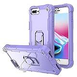 Hitaoyou iPhone 8 Plus Case, iPhone 7 Plus Case, iPhone 6S Plus Case, iPhone 6 Plus Case, Shockproof Hybrid Hard Bumper Soft Silicone Drop Protective Girls Women Boys Cute Phone Case (H004-Purple)