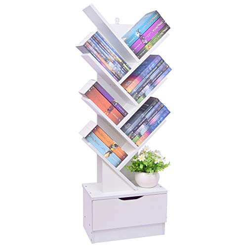 Tree Bookshelf with Drawers 8Tier Floor Standing Wooden Tree Bookcase Storage Rack Shelves in Living Room/Home/Office/Study Bookcase Display Holder Organizer for Books/Magazines/CDs/Movies White