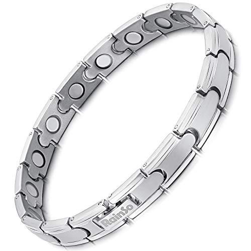 RainSo, un Bracelet Magnétique en Titane pur Romantique et à la Mode, en trois Couleurs de noir, Blanc et Gris-le Même Style Pour les Hommes et les Femmes-y Compris les Outils de Suppression. (Argent)