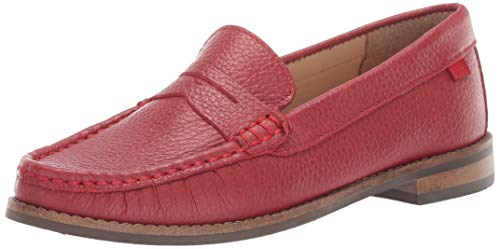 Marc Joseph New York Unisex-Kid's Genuine Leather Boys/Girls Casual Comfort Slip On Moccasin Penny Loafer Driving Style, red berry grainy 12 Little Kid M US Little Kid