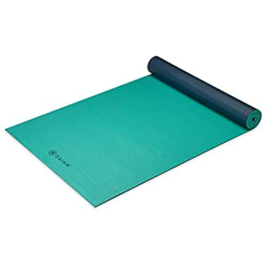 Gaiam Premium Reversible Two-Color Yoga Mat, Non Slip Exercise & Fitness Mat for All Types of Yoga, Pilates & Floor Exercises, Vibrant Viridian, 5mm