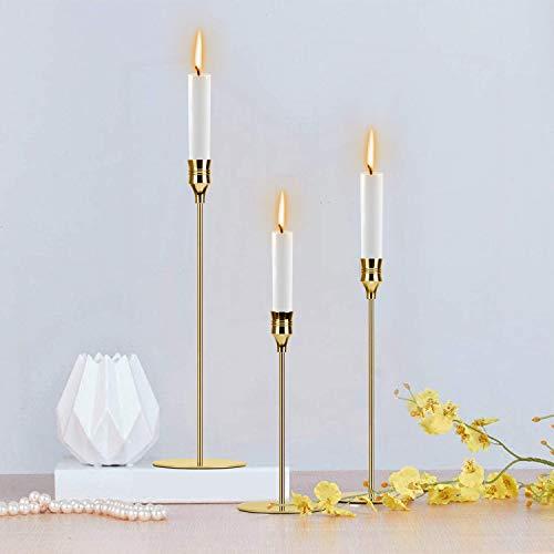 wuudi Set di 3 candelabri di Diverse Dimensioni, 24/29/34 cm, Candele coniche, candelabro Vintage per la Decorazione della tavola, candeliere per San Valentino (Oro Rosa)