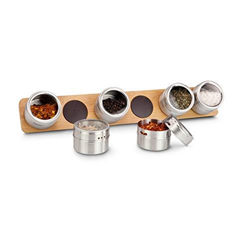 ROMINOX Geschenkartikel Gewürz-Magnetboard // Gustus – Gewürze Immer griffbereit – geräumige Edelstahl-Behälter mit Streuöffnung auf Bambus-Magnetboard; Maße: ca. 41.7 x 6.5 x 5.2 cm