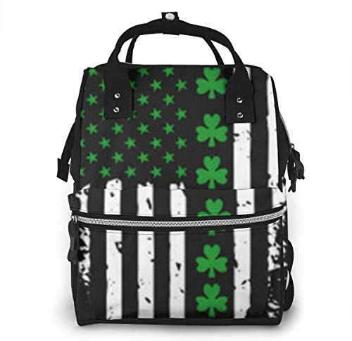 Diaper Bag Backpack Travel Bag Large Multifunction Waterproof American Flag Shamrock Stylish and Durable Nappy Bag for Baby Care School Backpack