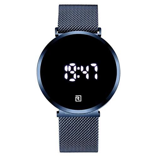 JCCOZ-URG Moda Digital Sport Men Watches Touch Screen Wristwatch Full Steel Impermeable Led Cuartz Watch Luxury URG (Color : Blue Box)