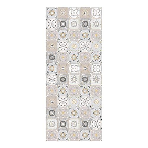 Alfombra Vinílica Cocina Baldosas, 120 x 50 x 0.22 cm, Varios Tamaños, Color Beige, Alfombra de Vinilo, Base Antideslizante, Lavable y Recortable, ALV-103