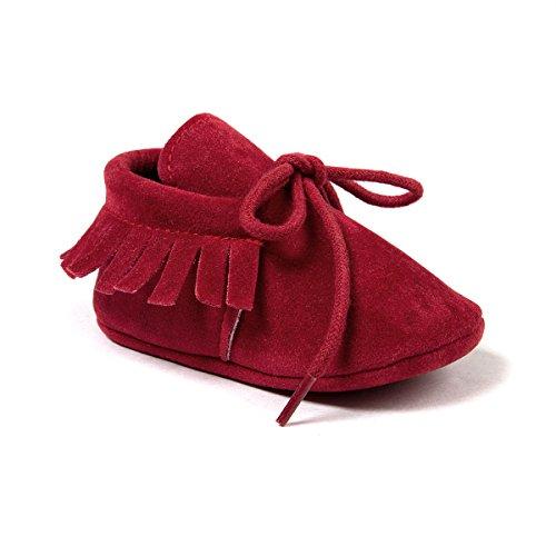 Auxma Moda Bebé niña Cuna borlas Vendaje Suave único Casual Zapatos niño Zapatillas (12cm 6-12 Meses, Rojo)
