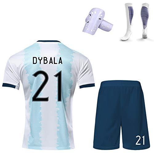 CBVB Equipo de fútbol de Estilo Personalizable para niños, Di María Dybala, Camiseta de Argentina, Uniforme de fútbol del Equipo Nacional, Uniforme de Entrenamiento de niño/niña