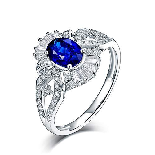 AnazoZ Anillo Mujer Zafiro,Anillos Oro Blanco 18 Kilates Plata Azul Flor Oval Zafiro Azul 1ct Diamante 0.47ct Talla 22