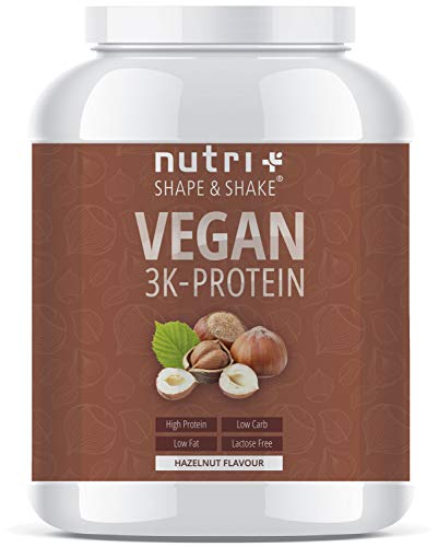 PROTEINPULVER VEGAN Haselnuss 1kg - 83,5{a2ffa791ae76716a6f528b6a6d23d0d4306c3ea97af99dc5369940c43d0c1c45} Eiweiß - Shape & Shake 3k-Protein Nuss - Nutri-Plus Veganes Eiweißpulver ohne Lactose, Milch & Whey - In Deutschland hergestellt