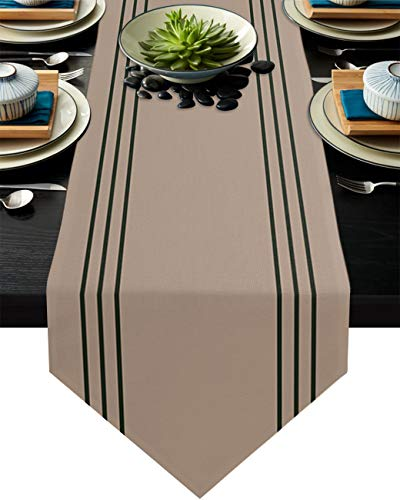 Savannan Burlap Kitchen Table Runner Vintage Brown Dark Green Stripe Anti-Skid Dresser Scarves for Family Dinner Holiday Birthday Party Home Decoration, 13'x120'