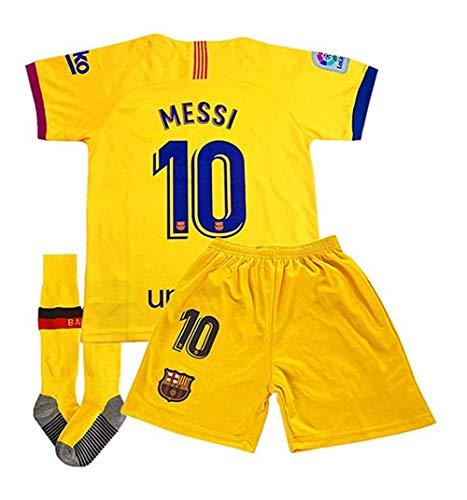 New Season Messi 10 Jersey Barcelona Away 2019/2020 Kids/Youth Jersey & Shorts & Socks (22-28) Size 7-8Y/22 Yellow