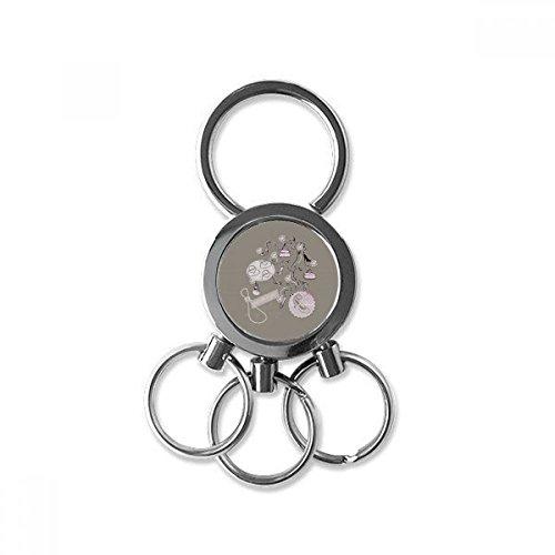Hoge hakken Schoenen Bloementas Patroon RVS Metalen sleutelhanger Ring Auto Sleutelhanger Clip Gift