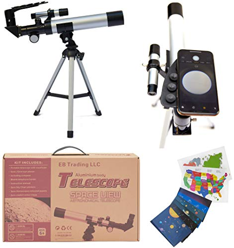 EB Space Kid's Explorer Telescope Gift Kit w Eco Carry Case | Children & Astronomy Beginner | Tabletop Tripod | Compass | Science Education |Bonus: Starsticker, Horsescope Paper, Color map (Silver)