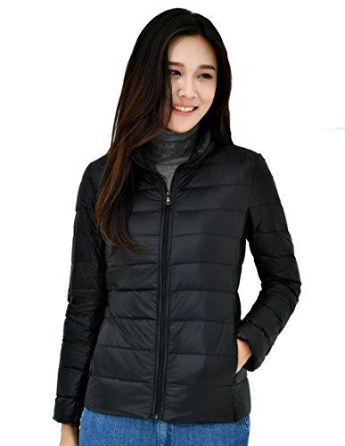 Zinsale Damen Leichte Daunenjacke Packbarer Kurzer Puffermantel Mantel Übergangsjacke (schwarz, S)