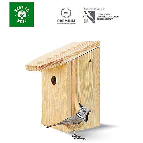 NEST TO NEST Nistkästen Für Vögel I Vogelhaus Holz Kiefern I Brutkasten für vögel 3,2 cm Einstiegsloch Premium Qualität