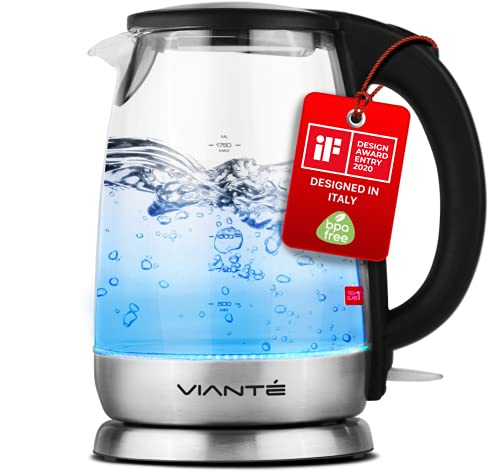 "Glass Electric Tea Kettle. Fast Water Boiler. BPA-FREE Stainless Steel & Borosilicate Glass. 30-second ""HOLD BOIL"" sanitizing feature. Deisgned in Italy. 8 Cups Capacity. 1.7 Liters by Vianté"