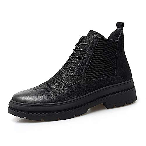 Männer Casual, Mode, Ankle Boots Herrenmode Bequeme Stiefel lässig kuhfell high-top Outdoor-außensohle Stiefel Fashion Boots (Color : Black, Size : 45 EU)
