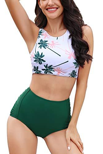 Women Athletic Two Piece Swimsuits Sports High Waisted Bathing Suit Crop Tops Bikini Set Tummy Control Tankini