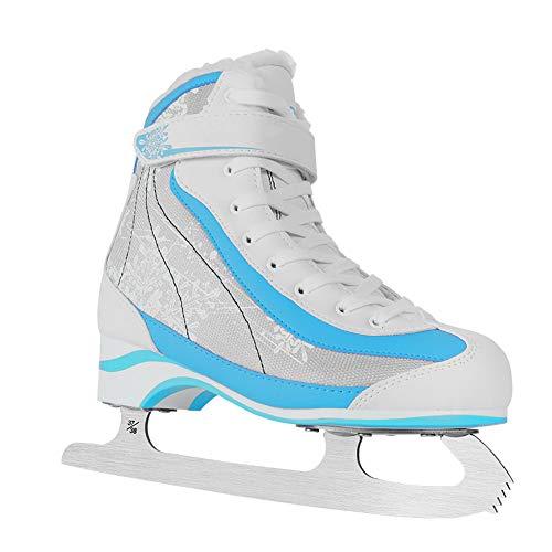 Pinkskattings@ Kinder Schlittschuhe Jungen Ice Skates Wasserabweisendes Obermaterial, Blau Weiss,40