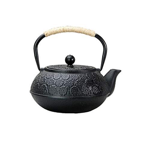 Tetera Tetera de hierro fundido con la talla del patrón de la flor de cerezo, Hervidor saludable japonesa 1000ml Tetera Retro (Color : Black, Size : 1000ml)