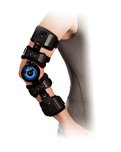 Orthomen Hinged ROM Elbow Brace, Adjustable Post OP Elbow Brace Stabilizer Splint Arm Injury Recovery Support After Surgery (Right)