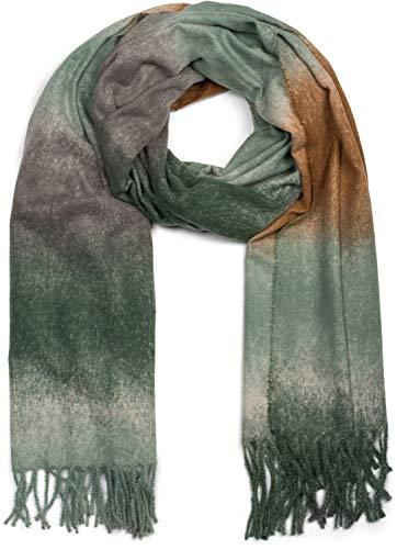 styleBREAKER Damen Schal mit Streifen Verlauf Muster und Fransen, Winter, Stola 01017124, Farbe:Oliv-Braun-Grau
