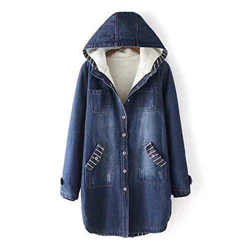 Winter Frauen Jeans mit Pelz Lange mit Kapuze Mäntel Frauen Warme Parka Frauen Denim Jacke Big Size Denim Mantel Frauen Parka