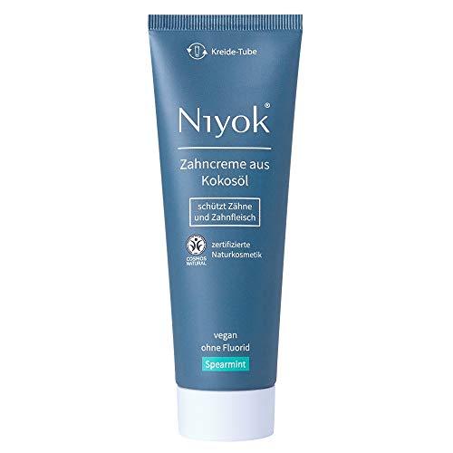 Niyok® Kokosöl Zahnpasta ohne Fluorid und Mikroplastik Plastik | Bio Naturkosmetik Sensitiv auch für Kinder | Xylit Herbal | natürliche Zahncreme VEGAN | Spearmint (75ml)