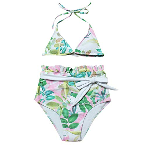 Women Bikini 2 Piece Rose Printed 50s Bathing Suit High Waisted Bottom Swimwear Ruched