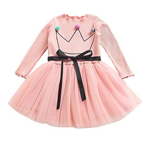 K-youth Vestidos Bebe Niña, Recién Bebé Niñas Tutú Princesa Vestido Pentagram Bautizo Bebé Niñas Vestidos de Manga Larga Otoño Invierno Ropa para 0-24 Meses (Corona Rosa, 6-12 Meses)