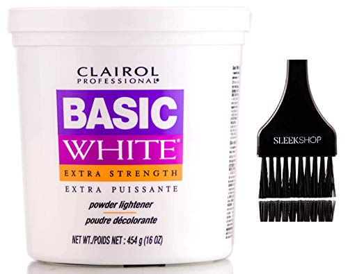 Clairol BW2 Basic White Powder Lightener BW2 Extra Strength, Dedusted (w/Sleek Tint Brush) BW 2 Hair Lightening, Bleaching, Blonding, Bleach (16.0 oz TUB (Original Basic White Formula))