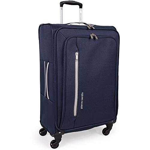 Soft Shell 27 Inch Suitcase with x4 Spinner Wheels - Cion Soft Case by Pierre Cardin | Durable & Quality Tested Soft Sided Luggage | Light 2.5 Kg 69cm 71 litres Capacity (Medium, Navy & Grey)