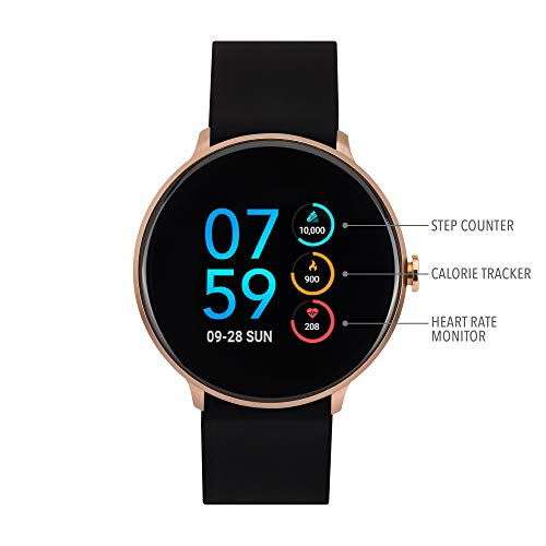 iTouch Sport Digital Smartwatch and Pedometer - Solid Silicone Strap (Black/Rose Gold)