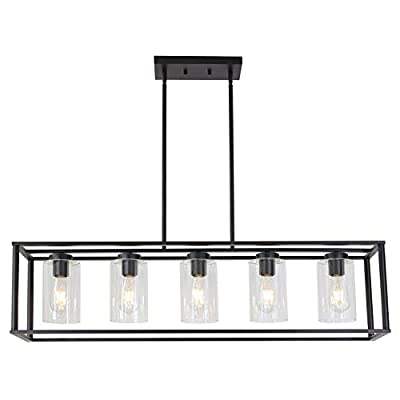 VINLUZ Contemporary Modern Chandeliers Rectangle Black 5 Light Dining Room Lighting Fixtures Hanging, Kitchen Island Cage Pendant Lights Farmhouse Ceiling Light with Glass Shade Adjustable Rods