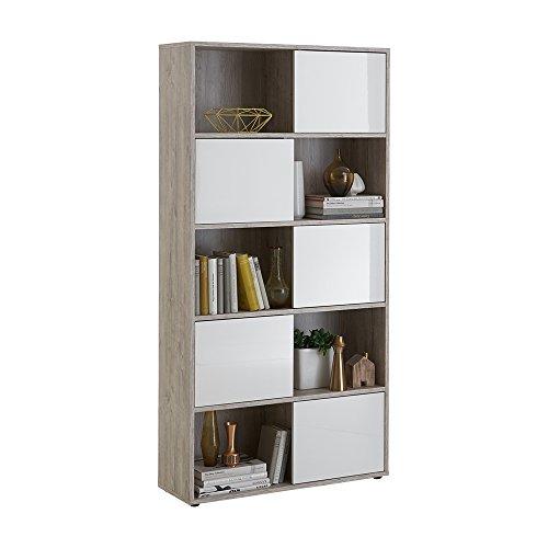 FMD Möbel Futura 2 Up Regal, Holz, Sandeiche/Hochglanz-Weiß, 90x33x182 cm